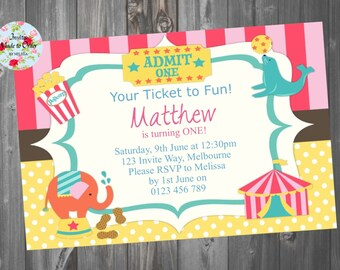 Circus Birthday Invitation Boy or Girl with Elephant and animals