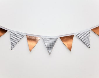 Hyland Faux Leather Copper and Black and White Polka Dot Bunting