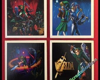 Ceramic Tile Coasters - Zelda, Coaster Set, Drink Coasters, Set of 4 Coasters