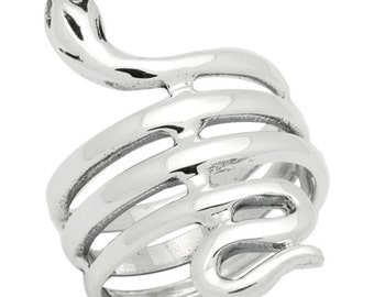 Sterling Silver High Polish Plain Coil Snake Ring