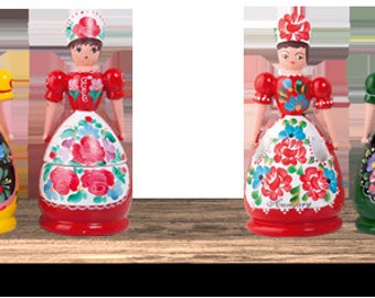 Traditional Wooden Doll with Hungarian Kalocsai Paintings Original Handmade