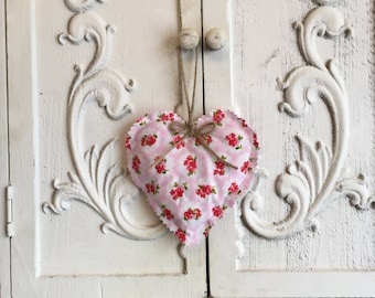 Fabric hanging heart - floral