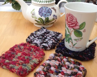 Hand knitted coasters - sets of 4