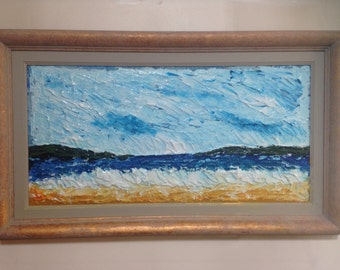 Cemaes Bay seascape in the medium of acrylic