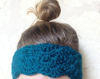 Teal Shell Stitch Crochet Headband Ear Warmer