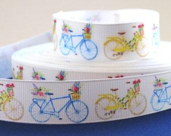 "7/8"" Bike Ribbon - Bicycle with Basket - Grosgrain Ribbon"