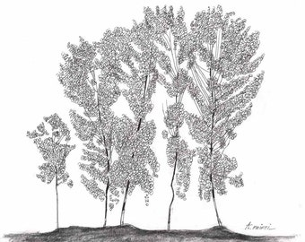 original tree drawing black ink drawing line art drawing modern drawings tree