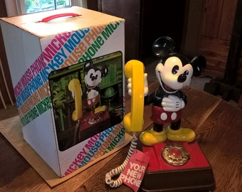 vintage mickey mouse phone with original box