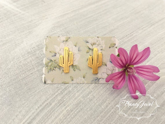 Earrings, gold earrings, cactus jewels, nature jewels, nature earrings, stud earrings, elegant jewelry, minimal jewels, made in Italy