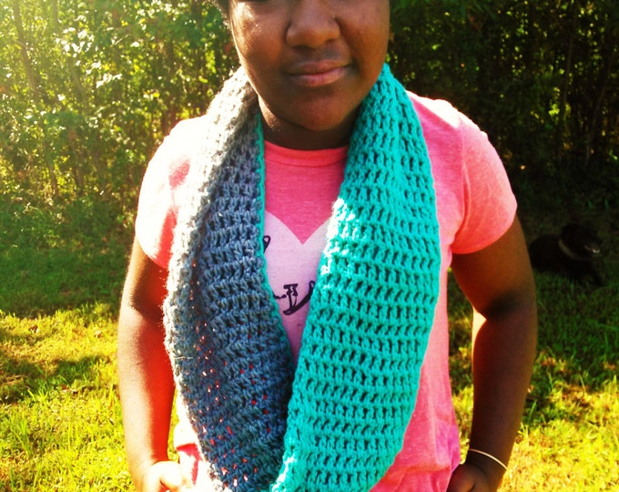 Teal and Gray Crochet infinity scarf
