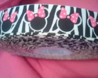 7/8 inch zebra mouse ribbon