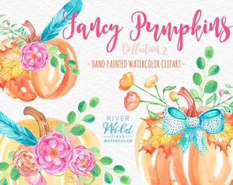 Watercolor Pumpkin Clipart, Autumn Fall Watercolor Trendy PNG Clipart Set, Digital Download Chalkboard Watercolour Cliparts, Fall Leaves PNG