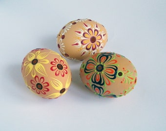Set of 3 Brown Easter Eggs Hand Decorate Madeira Lace Egg Housewarming Gift Pysanky Painted Egg Ukrainian Easter Egg  Folk Art FREE Shipping