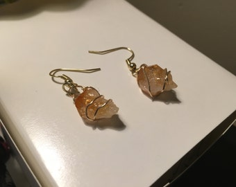 Citrine crystal dangle earrings