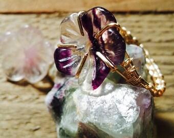 Fluorite Flower Weave Ring