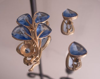 Capri Blue Brooch and Earrings
