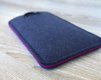 S7 ANTHRACITE/PINK · Cell phone case for Samsung Galaxy S7 with pull tab sleeve case made of wool felt