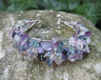 Cuff Bracelet with Gem Stone and Seed Beads