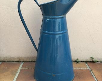 Vintage French Enamel pitcher jug dark blue water enameled
