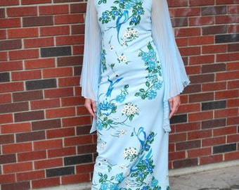 Vintage Blue Bird Maxi Dress with Sheer Accordion Sleeves - Alfred Shaheen (1970s)