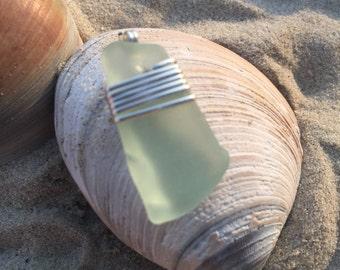 Green Genuine Sea Glass Pendant