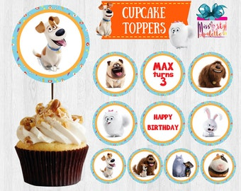 Secret Life of Pets Cupcake Topper, Cupcake Toppers, Dessert/ Cake Decoration PRINTABLE