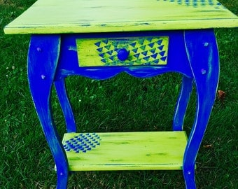 Lime green and electric blue side table