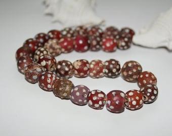 Old Venetian Murano glass of beads, eye beads, 11 mm