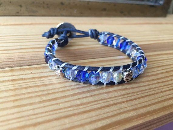 Blue crystal single wrap bracelet, Czech crystal, with carved silver accent beads, tree of life button, gift, wedding, bridesmaid,