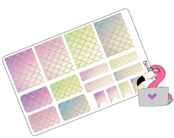 Ombre Glitter Mermaid Scales Mixed Boxes - Planner Stickers