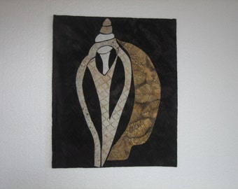 Textile art, fibre art, wall decor, beach art, shell, Volute
