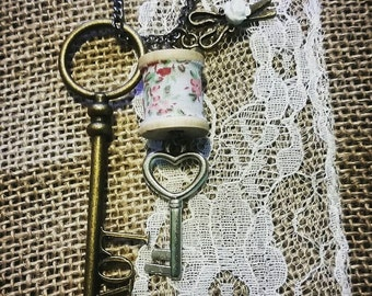 Love to Sew Skeleton Key Necklace.