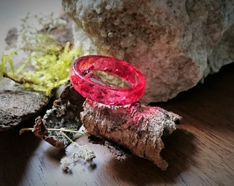 Resin - Crimson ring with silver metal flake, ring size: 19 / 59 (86) - resin