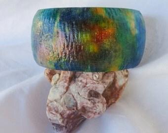 Colorful Textured Bangle Bracelet.  Unique, One-of-a-Kind