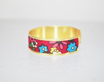 Floral red fabric Cuff Bracelet