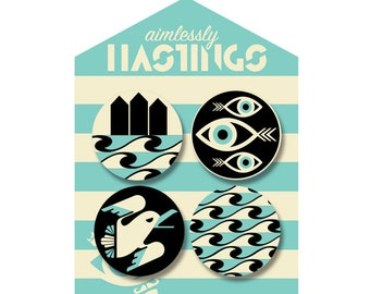 Aimlessly Hastings/Six Past Eleven Seaside Badge Set