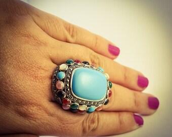 Turquoise Ring Turquoise Ring Large Turquoise Ring Boho Turquoise Ring Statement Turquoise Ring Free Shipping