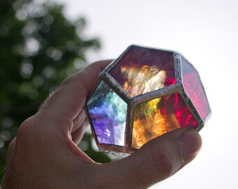 """Reclaimed """"Calico"""" Stained Glass Dodecahedron Ornament"""
