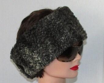 Beau et chaud bandeau de fourrure de mouton de perse gris noir/Charcoal grey persian lamb fur headband