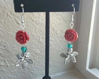 By any other name..., red rose dangle earrings