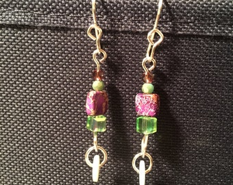 Purple green dangle earrings
