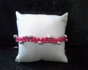 Wavey, pink, beaded anklet