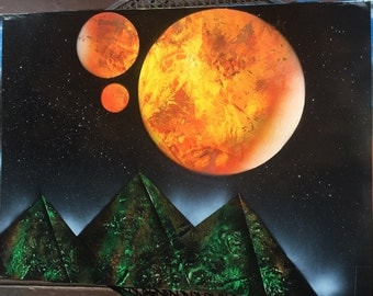 Pyramids under Orange Planets (spray paint art)