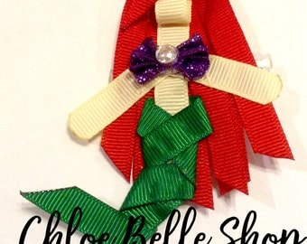 Mermaid Princess Ribbon Sculpture Clippie