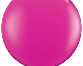 Latex giant pink GLOW ball - 90 cm - birthday decoration wedding engagement chic