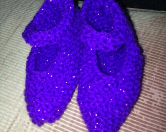 Purple Sparkly Mary-Jane Booties