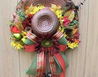 A Autumn Season Inspired Straw Hat Door Wall Decor or Wreath.