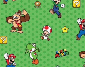Nintendo Super Mario Characters Green Fabric From Springs Creative