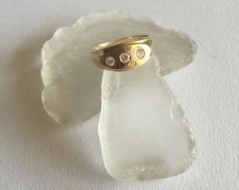 14k yellow gold ring with white diamonds