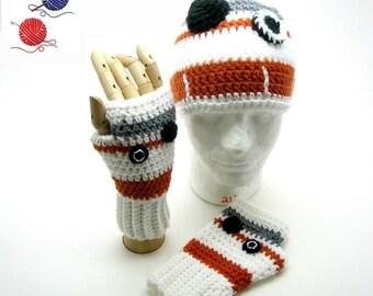 Crochet BB-8 Hat and Glove Set